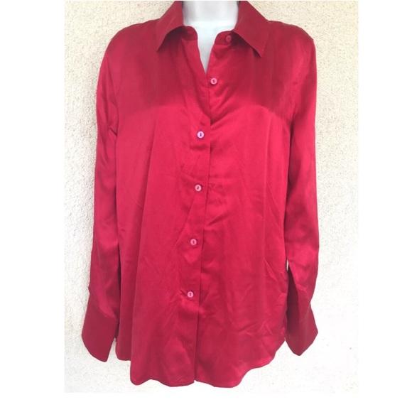 ce444fd85ea153 NWT Kate Hill Satin SIlk Button Down Shirt Blouse